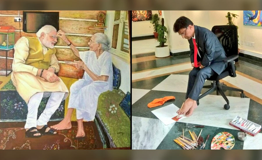Ever thought of painting with your feet! God gifted Foot Artist inspires to break human barriers to make it possible - The story of Uttam Kumar Bhardwaj
